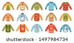 cartoon christmas party jumpers.... | Shutterstock .eps vector #1497984734