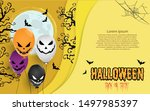 halloween balloons under the... | Shutterstock .eps vector #1497985397