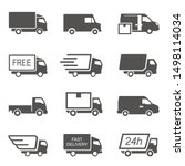 Express delivery trucks vector glyph icons set. Fast shipment vans black silhouette illustrations pack. Courier service transport design element. Distribution and logistic isolated cliparts collection