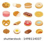 pastry desserts flat color... | Shutterstock .eps vector #1498114037