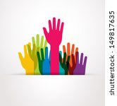 Vector Colored Raised Hands...