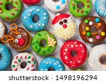 Set Of Christmas Donuts On Gray ...