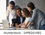 smiling diverse employees or... | Shutterstock . vector #1498261481