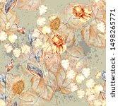 watercolor wildflowers wild... | Shutterstock . vector #1498265771