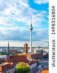 Television tower and Red Town Hall (Rotes Rathaus) on Alexanderplatz, Berlin, Germany