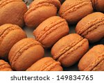Traditional French sweets called macaroons, at a farmers market - stock photo