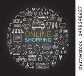 vector online shopping icons... | Shutterstock .eps vector #1498348637