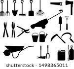 set of garden tools silhouettes ...