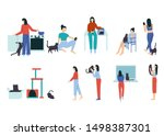 woman performing different... | Shutterstock .eps vector #1498387301