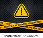 attention sign and police lines.... | Shutterstock .eps vector #149839091