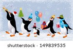 Group Of Cute Penguins In Caps...