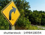 A right curve sign along the...