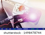 Small photo of Background image of Car refuel oil fill up the gas tank at gas station with powerful of energy imply Power business crisis cause oil price high.