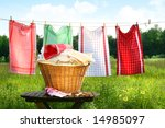 Stock photo towels drying on the clothesline 14985097