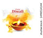 happy diwali. traditional...   Shutterstock .eps vector #1498514144
