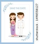 cute thai couple for wedding... | Shutterstock .eps vector #1498558127