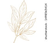 golden ink  pencil  the leaves... | Shutterstock .eps vector #1498565414