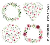 watercolor flower wreaths.... | Shutterstock . vector #1498574297