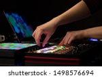 Dj hand remixing music on midi...