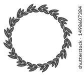 circle leaf frames. floral... | Shutterstock . vector #1498607384