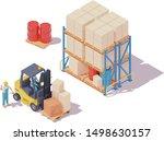 vector isometric forklift... | Shutterstock .eps vector #1498630157