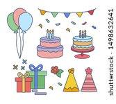 set of cute happy birthday... | Shutterstock .eps vector #1498632641