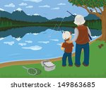 a father and son fishes in a... | Shutterstock .eps vector #149863685