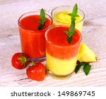 strawberry and pineapple... | Shutterstock . vector #149869745
