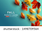 red and golden coloured autumn... | Shutterstock .eps vector #1498709564