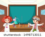 two science students working in ...   Shutterstock .eps vector #1498713011