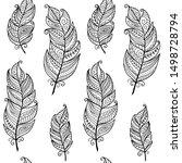 black and white monochrome boho ... | Shutterstock .eps vector #1498728794