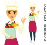 girl cook holding a bag of food....   Shutterstock .eps vector #1498729907