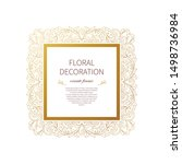 floral gold decoration  square... | Shutterstock .eps vector #1498736984