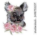 Cute Koala In Pink Peony...