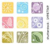 nine in one floral label ...   Shutterstock .eps vector #14987569
