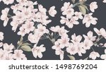 floral seamless pattern  somei... | Shutterstock .eps vector #1498769204