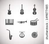 acoustic,art,audio,classic,collection,concert,disk,drum,electric guitar,entertainment,gramophone,guitar,harp,icon,illustration