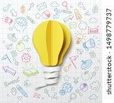paper art of light bulb... | Shutterstock .eps vector #1498779737