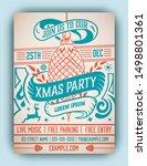 christmas party flyer retro... | Shutterstock .eps vector #1498801361