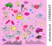 cute pink sketches and doodles... | Shutterstock .eps vector #149880629