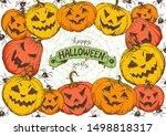 halloween design template. hand ... | Shutterstock .eps vector #1498818317