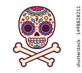 cartoon mexican sugar skull... | Shutterstock . vector #1498828211