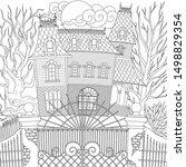 line art design of haunted... | Shutterstock .eps vector #1498829354