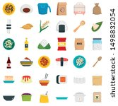 rice icons set. flat set of... | Shutterstock .eps vector #1498832054