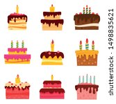 Cake Birthday Icon Set. Flat...