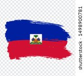 Flag Haiti from brush strokes. Flag Republic of Haiti on transparent background for your web site design, logo, app, UI. Stock vector.  EPS10.