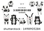 Stock vector cute scandinavian monochrome prints animals hand drawn doodle cartoon animals for nursery posters 1498905284