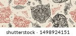 tigers seamless pattern. old... | Shutterstock .eps vector #1498924151