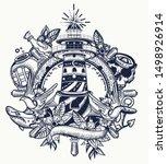 lighthouse. tattoo and t shirt... | Shutterstock .eps vector #1498926914