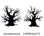 silhouette of dead old trees on ... | Shutterstock .eps vector #1498946171